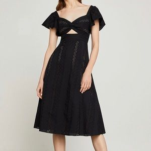BCBG Max Azria Blk Embroidered Fit-And-Flare Dress